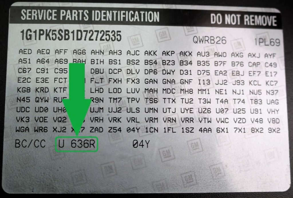 Chevy Paint Code Location