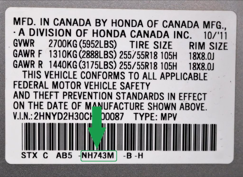 Acura Paint Code Location