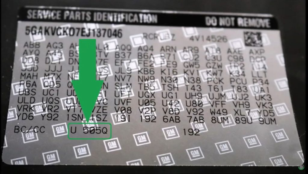 Buick Paint Code Location