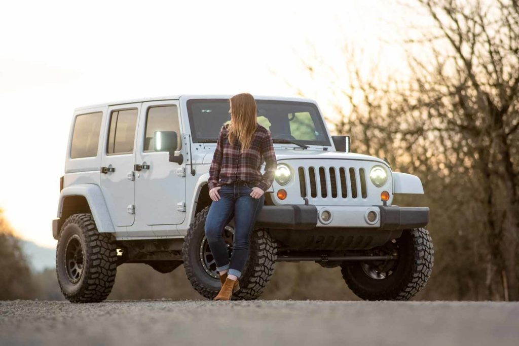 White Jeep with Woman