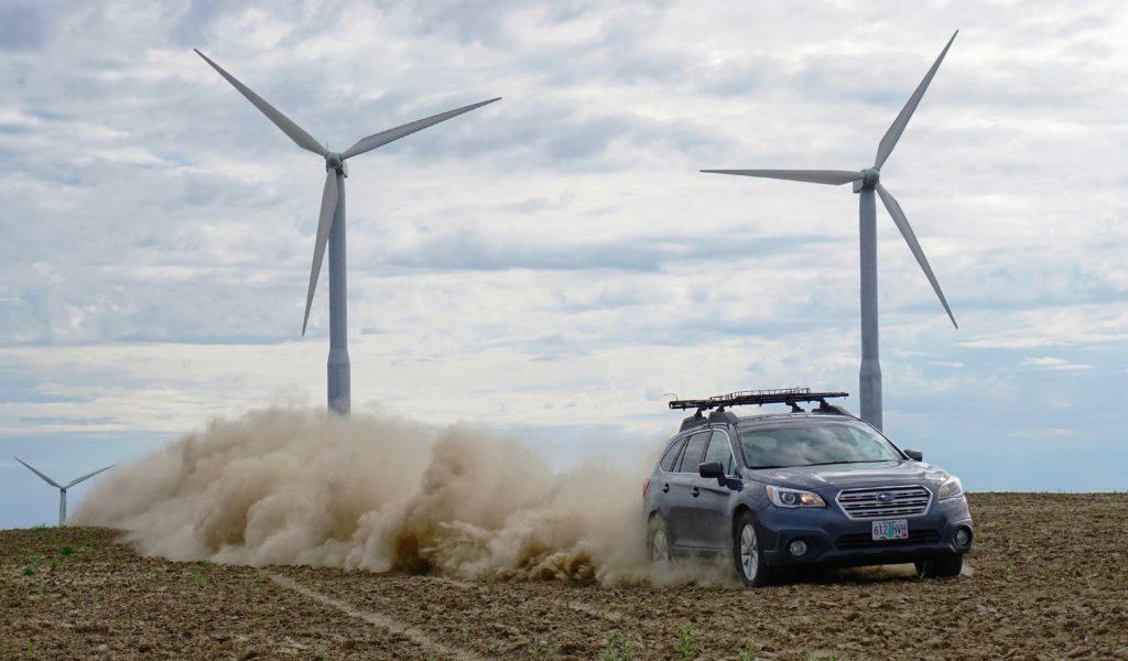Subaru Impreza driving on dirt