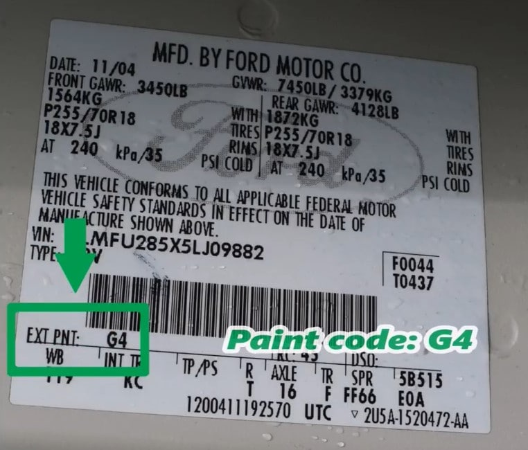 Lincoln Paint Code Location